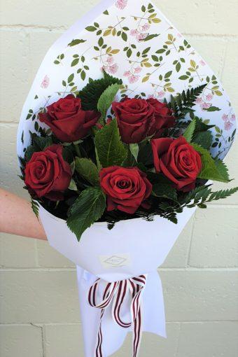 Half A Dozen Red Rose Bouquet